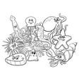 sea life group cartoon characters coloring book vector image