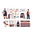 set barbershop tools and accessories with male mix vector image