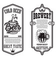 set beer flyers with hop design element for vector image vector image