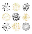 set hand drawn fireworks and sunbursts vector image