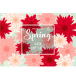 spring sale banner template with paper flower vector image