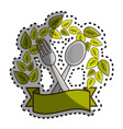 sticker fork and spoon kitchen tools with leaves vector image vector image