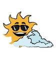 sun and cloud cartoon mascot drawn vector image vector image