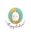 sweet easter egg cat in the grass and oval sky vector image vector image