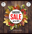 thanksgiving sale poster with autumn leaves vector image vector image