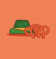 traditional german hat with pretzel vector image