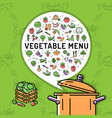 vegetable menu card vegetables thin line icons vector image vector image