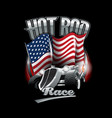 vintage hot rod logo for printing on t-shirts vector image