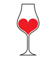 wineglass heart vector image vector image