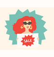 woman holding a sign sale vector image vector image