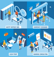 bank services flat 3d isometric poster set vector image
