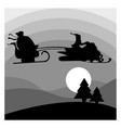 silhouette santa claus riding snowmobile vector image