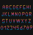 dark colored neon font with numbers english vector image