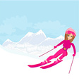 a young woman skiing down a snow covered mountai vector image
