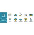 big data icon set include creative elements cloud vector image vector image