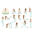 Big set yoga female pose vector image