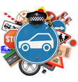 Blue Road Sign with Car Parts vector image vector image