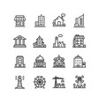 building house or home black thin line icon set vector image vector image