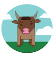 Bull on a meadow sky with clouds vector image