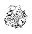 bulldog wearing hat hand drawing vector image vector image