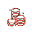 cartoon coins stack icon in comic style money vector image vector image
