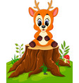 cartoon deer posing on tree stump vector image vector image