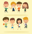 cheerful school boys and girls make a jump vector image vector image