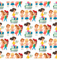 children studying school kids going study together vector image vector image