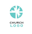 christian church logo with dove and cross vector image vector image