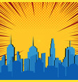 comic blue cityscape explosive template vector image vector image