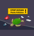 corpse turtle at beach pollution with oil and junk vector image vector image