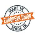 european union orange grunge ribbon stamp on white vector image vector image