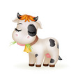 farm little cartoon cute calf white cow standing vector image vector image