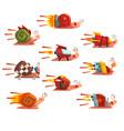 fast snails set funny cartoon mollusk characters vector image vector image