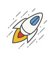 flying spaceship color icon vector image vector image