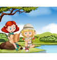 Girl camping out by the river vector image vector image