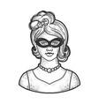 girl mask line art sketch vector image vector image