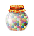 Glass jar with round sweets vector image vector image