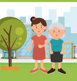 grandmother with daughter on the park vector image vector image