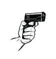 gun in hand shooter sketch vector image vector image