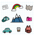 hand draw travel icon set doodle with color vector image vector image