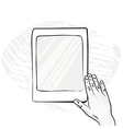 Hands with smartphone sketches vector image vector image