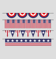 hanging decorative usa banner flag set for vector image