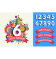 Happy birthday greeting card number set template vector image vector image