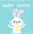 happy easter rabbit bunny holding paw print hands vector image vector image