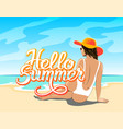 hello summer lettering with girl vector image vector image