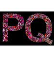 letter p q valentine alphabet vector image