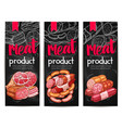 meat and sausages chalkboard banner template vector image vector image