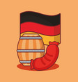 oktoberfest label with set icons vector image vector image