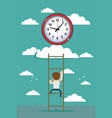 oncept of clock time symbol icon on cloud with vector image vector image